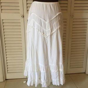 Boho white maxi skirt